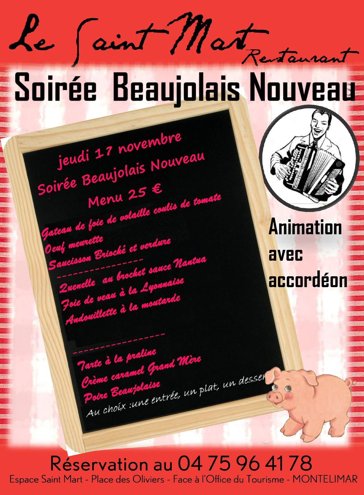 Venez célébrer le Beaujolais Nouveau, au restaurant le Saint-Mart à Montélimar dans la Drôme